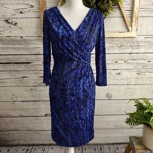 Ralph Lauren Faux Wrap Dress 3/4 Sleeve Blue SZ 8